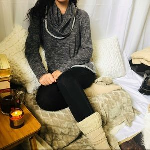 Free People Beach Gray Cocoon Cowl Neck Pullover